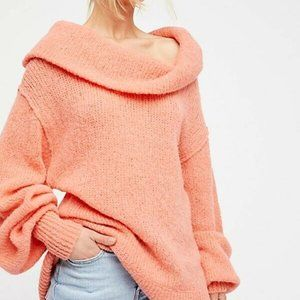 Free People Ophelia Off the Shoulder Peach Sweater